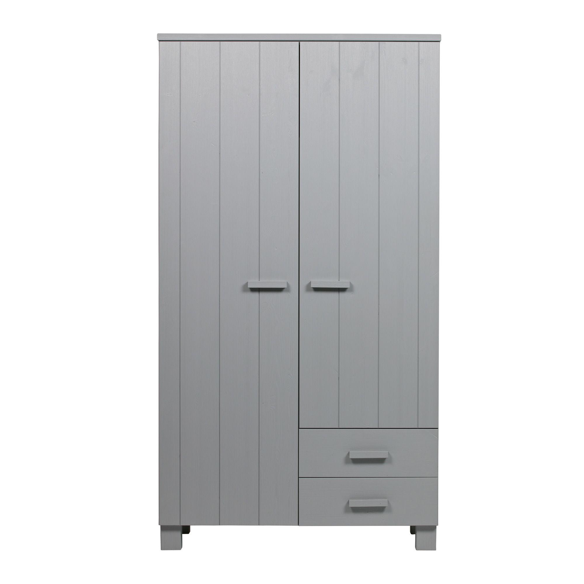 Woood Dennis Bed.Woood Dennis 2 Door Wardrobe 2 Drawers Concrete Grey