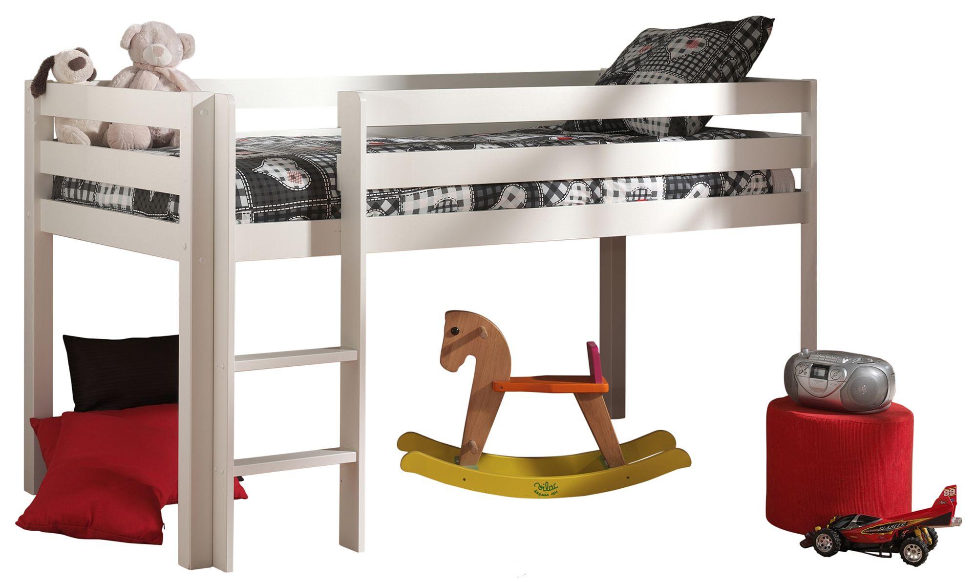 Vipack pino mid sleeper bed white meubles for Meubles kilkenny