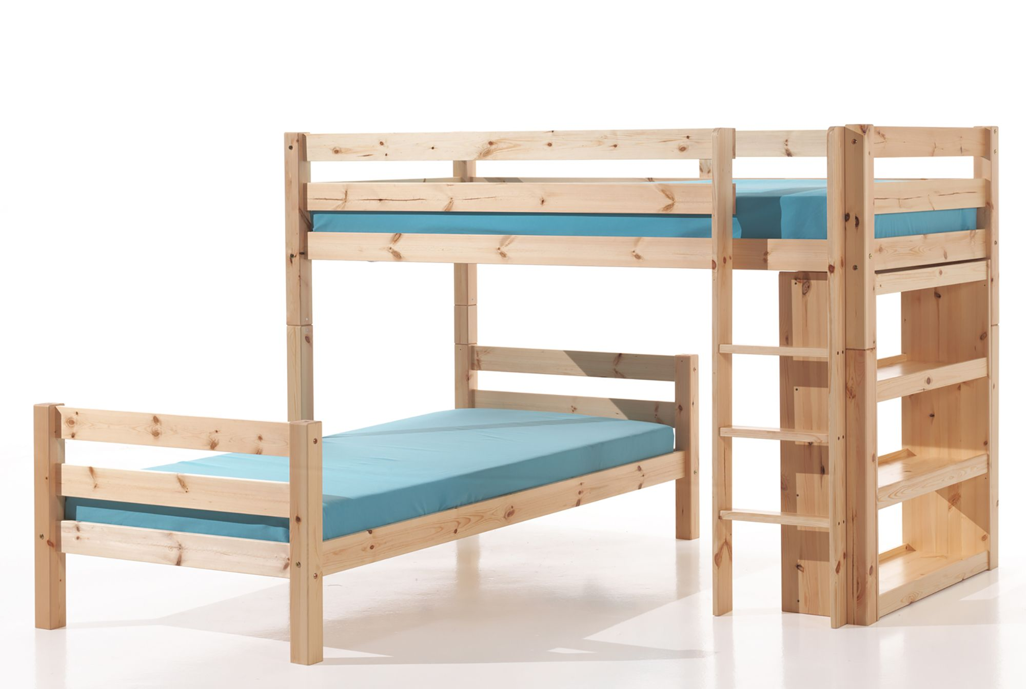 vipack pino bunk bed with bookshelf pine meubles. Black Bedroom Furniture Sets. Home Design Ideas