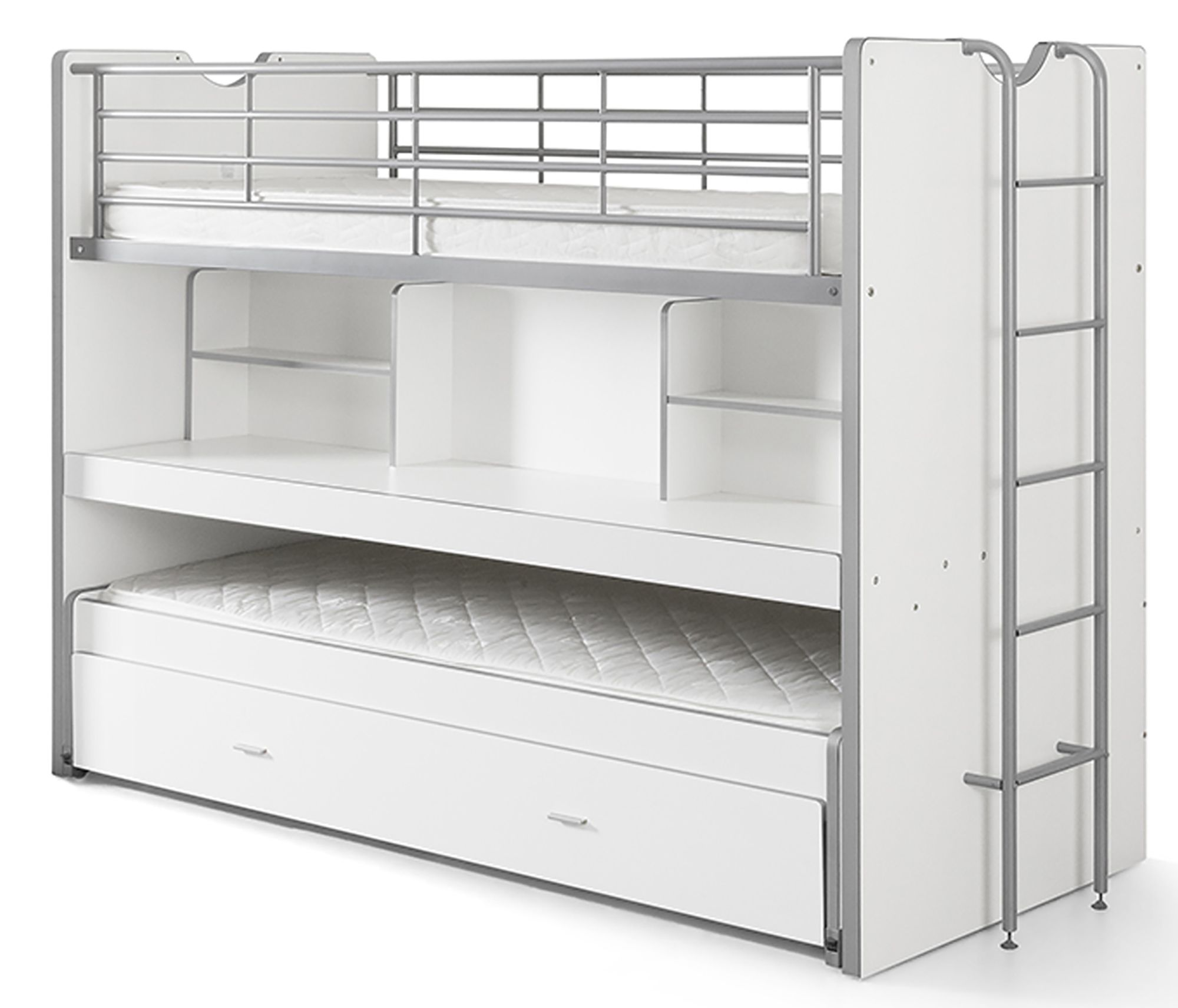 Vipack bonny high sleeper with desk pull out bed white for Meuble japonais futon