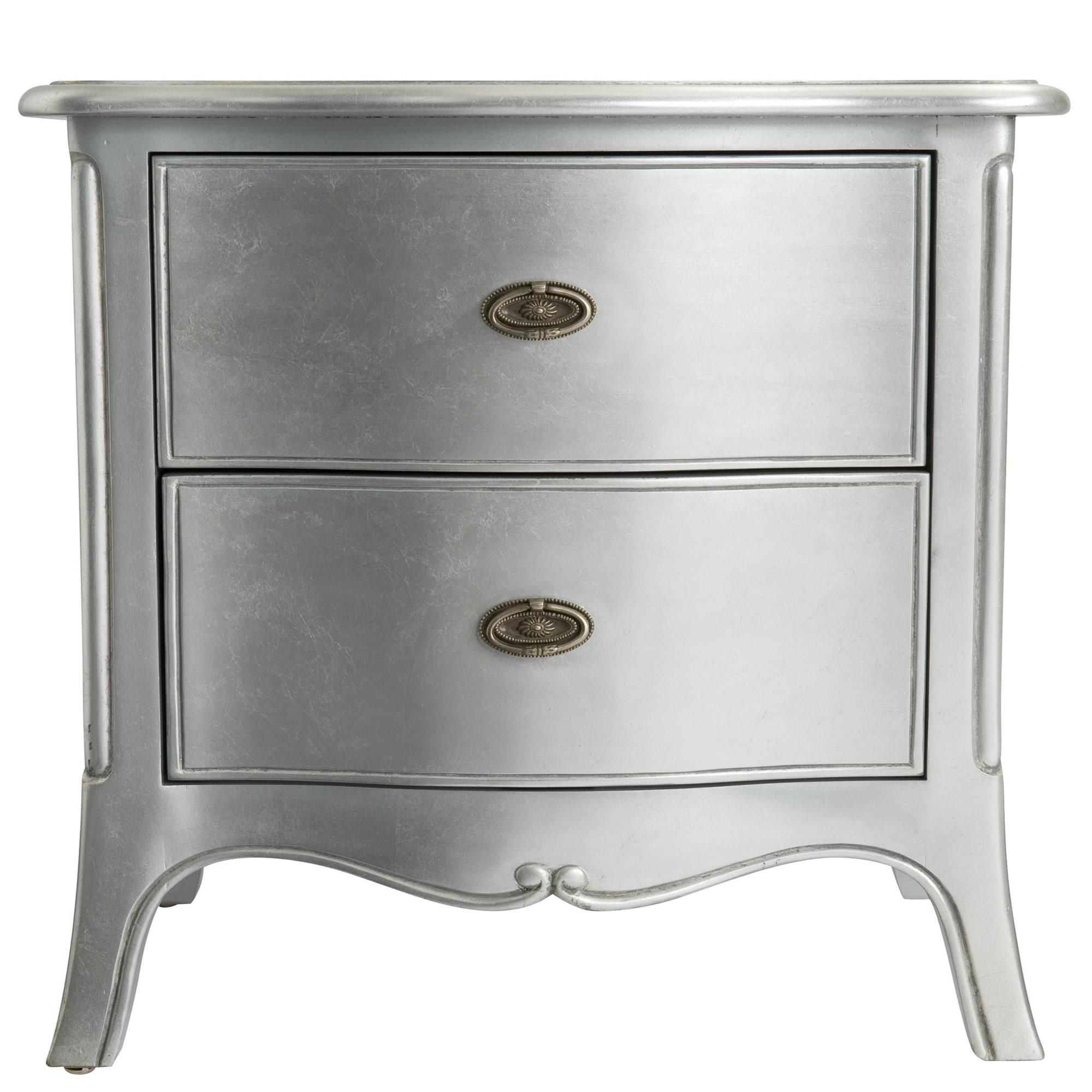 araminta silver leaf wide 2 drawer bedside locker all bedroom collections meubles. Black Bedroom Furniture Sets. Home Design Ideas