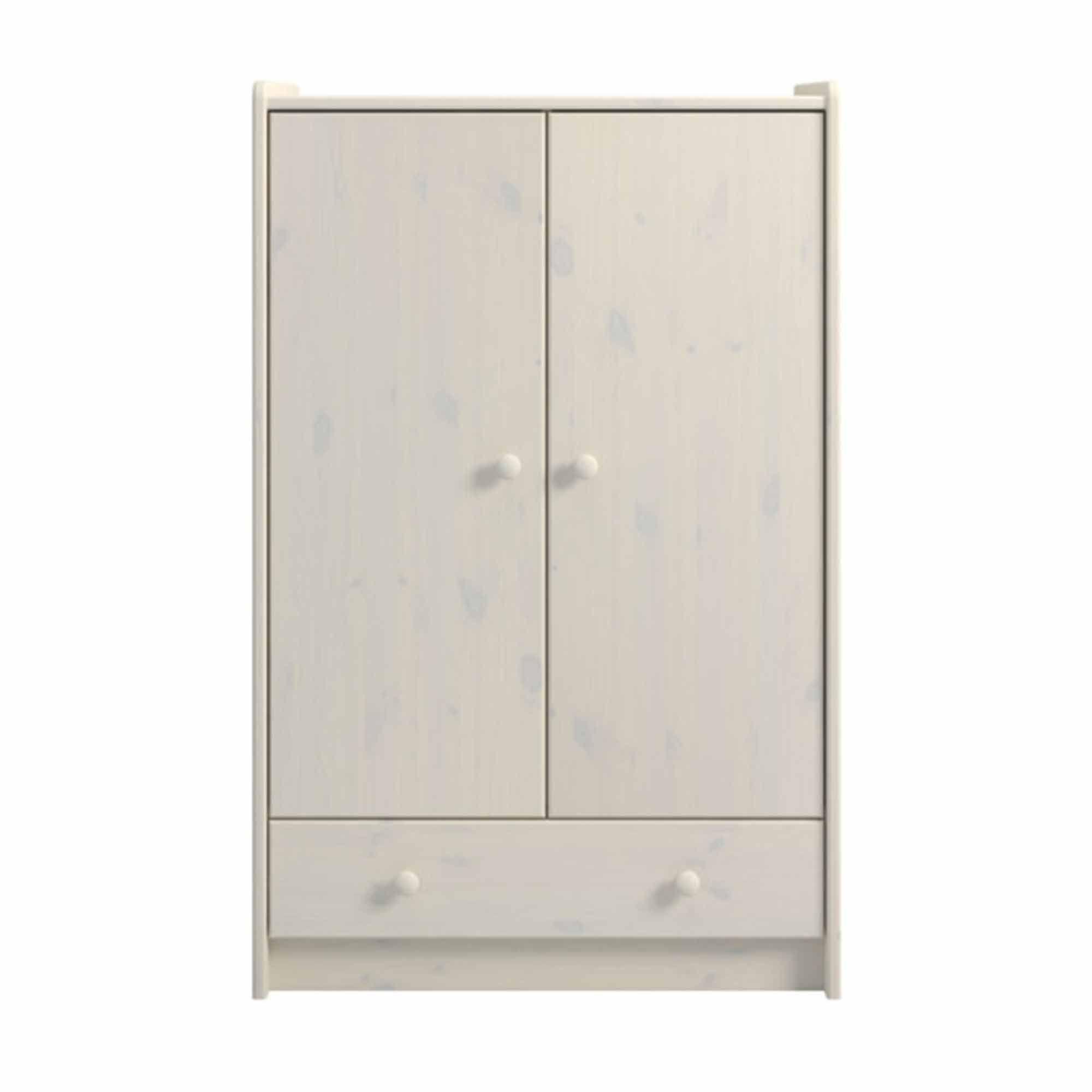 Steens Kids 2 Doors 1-Drawer Wardrobe Whitewash Finish