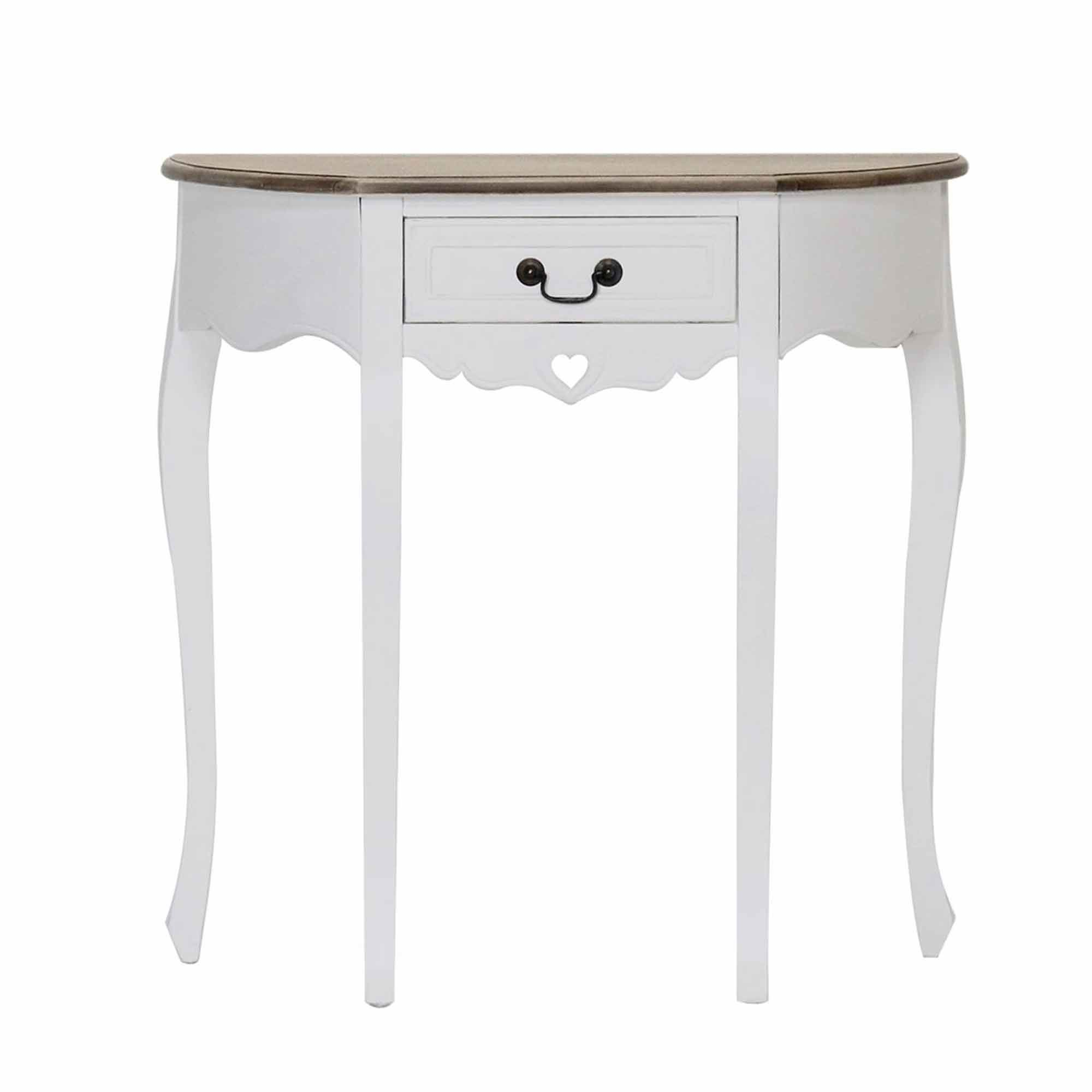 Picture of: Denham 1 Drawer Half Moon Shaped Console Table White Meubles