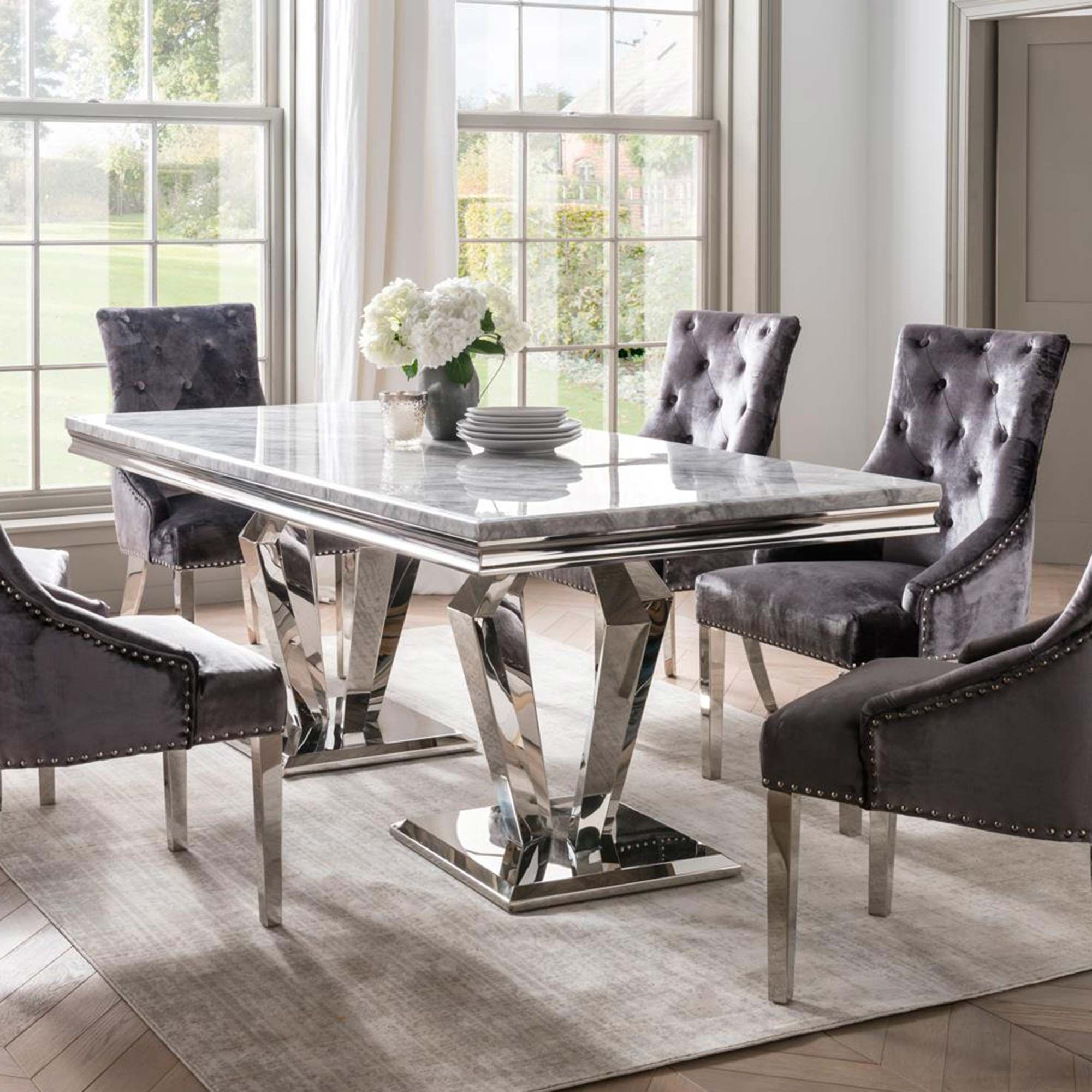 Picture of: Ernest 8 Person Dining Table Stainless Steel Marble Top Dining Tables Meubles