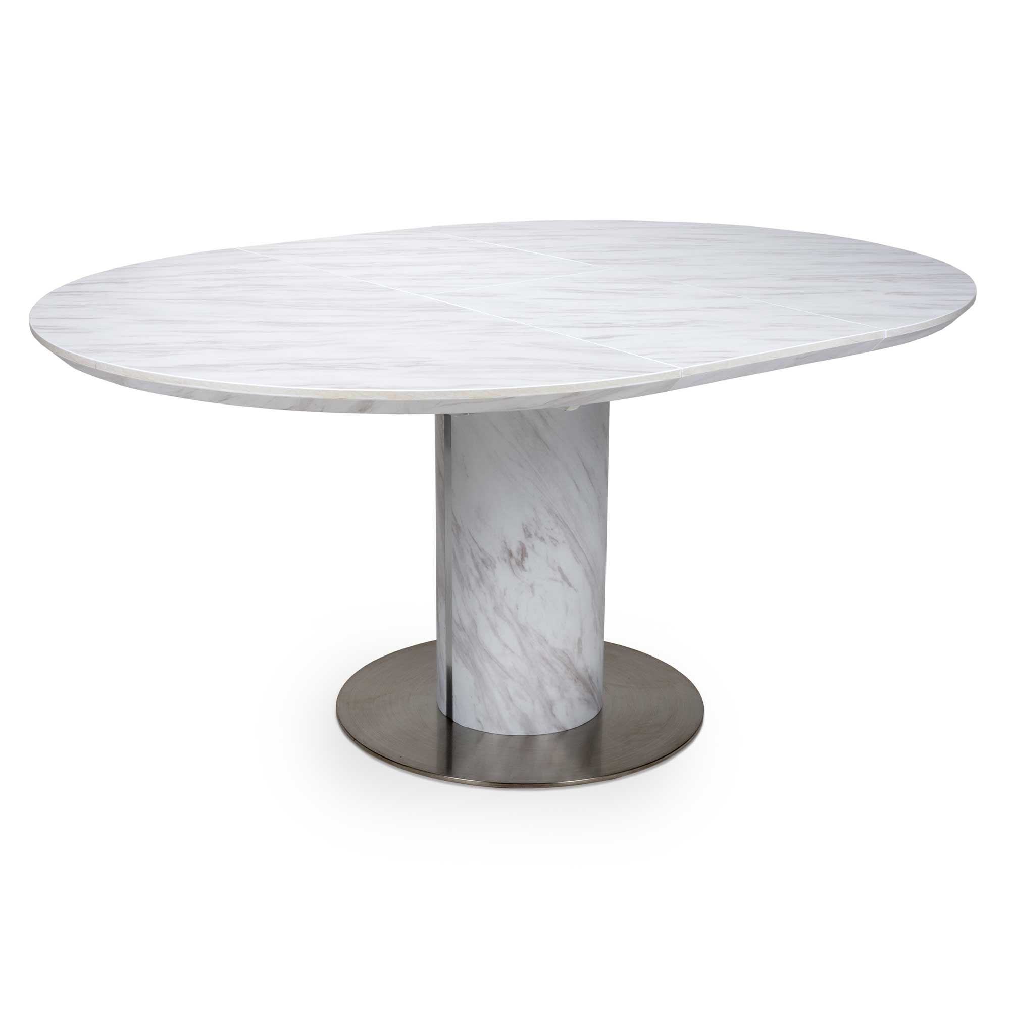 allure 46 person round extending dining table white  meubles