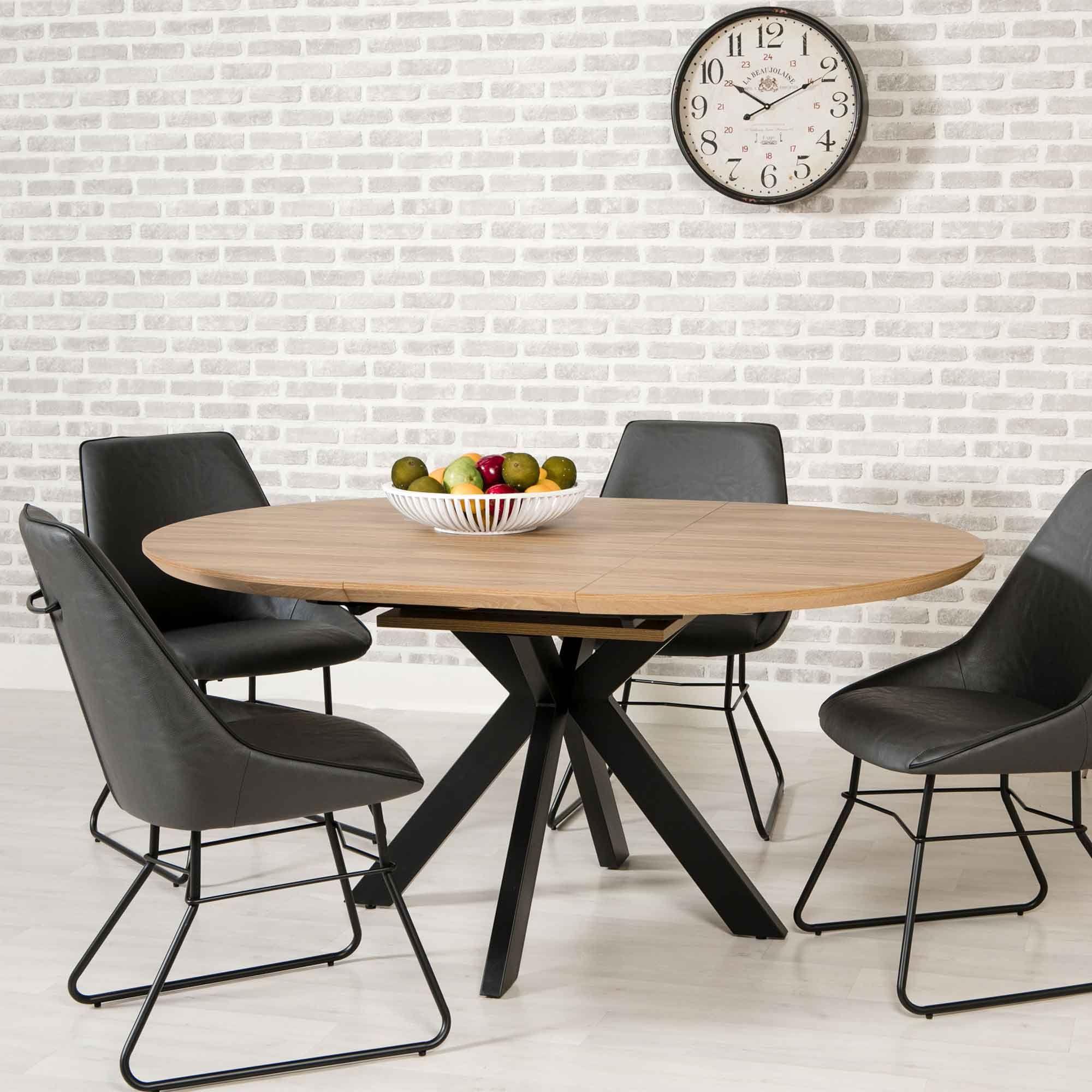 manhattan 46 person round extending dining table oak
