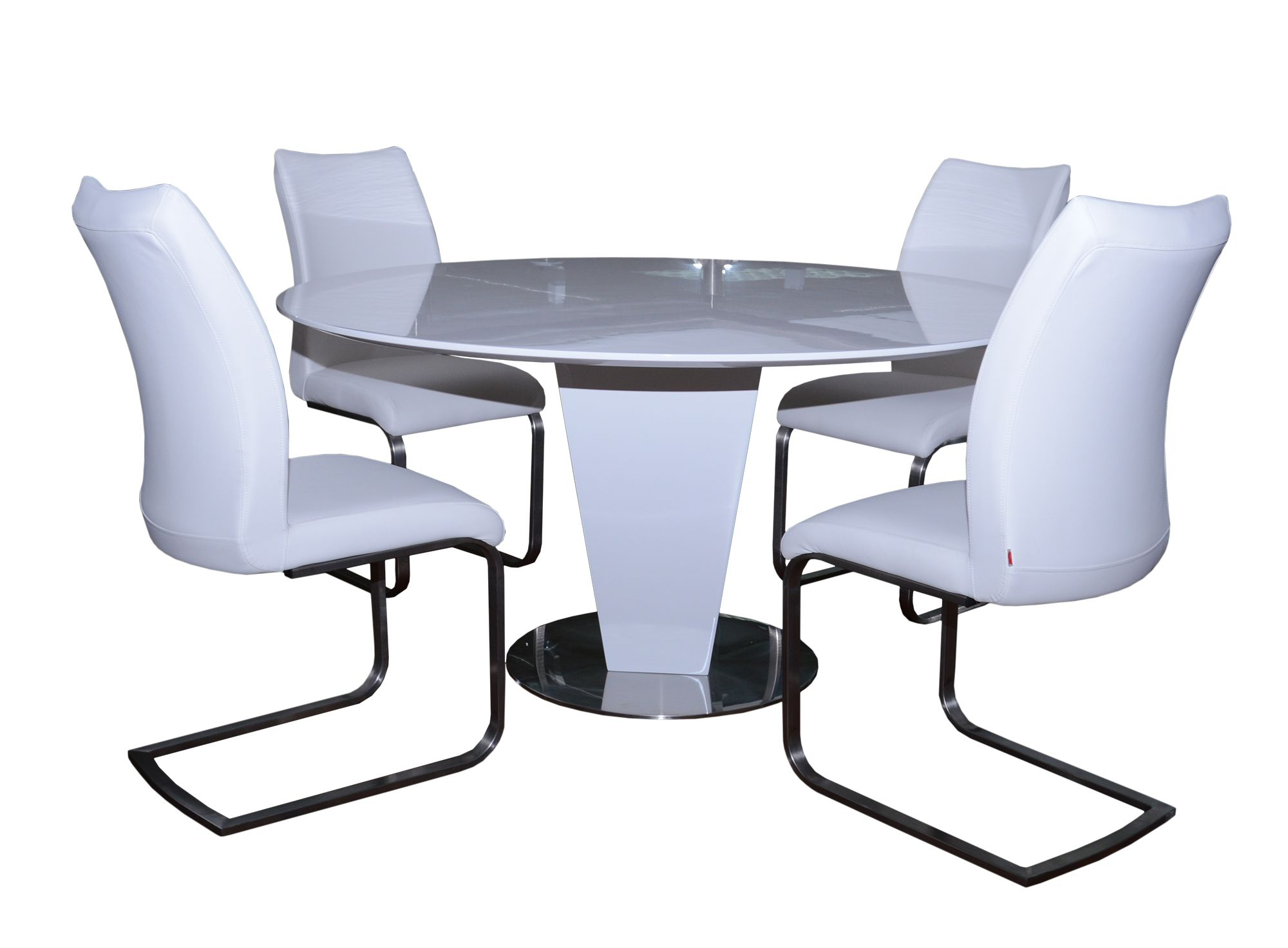 Alessandria 4 6 Person Round Dining Table 4 White Paderna Dining Chairs Dining Table Chair Sets Meubles