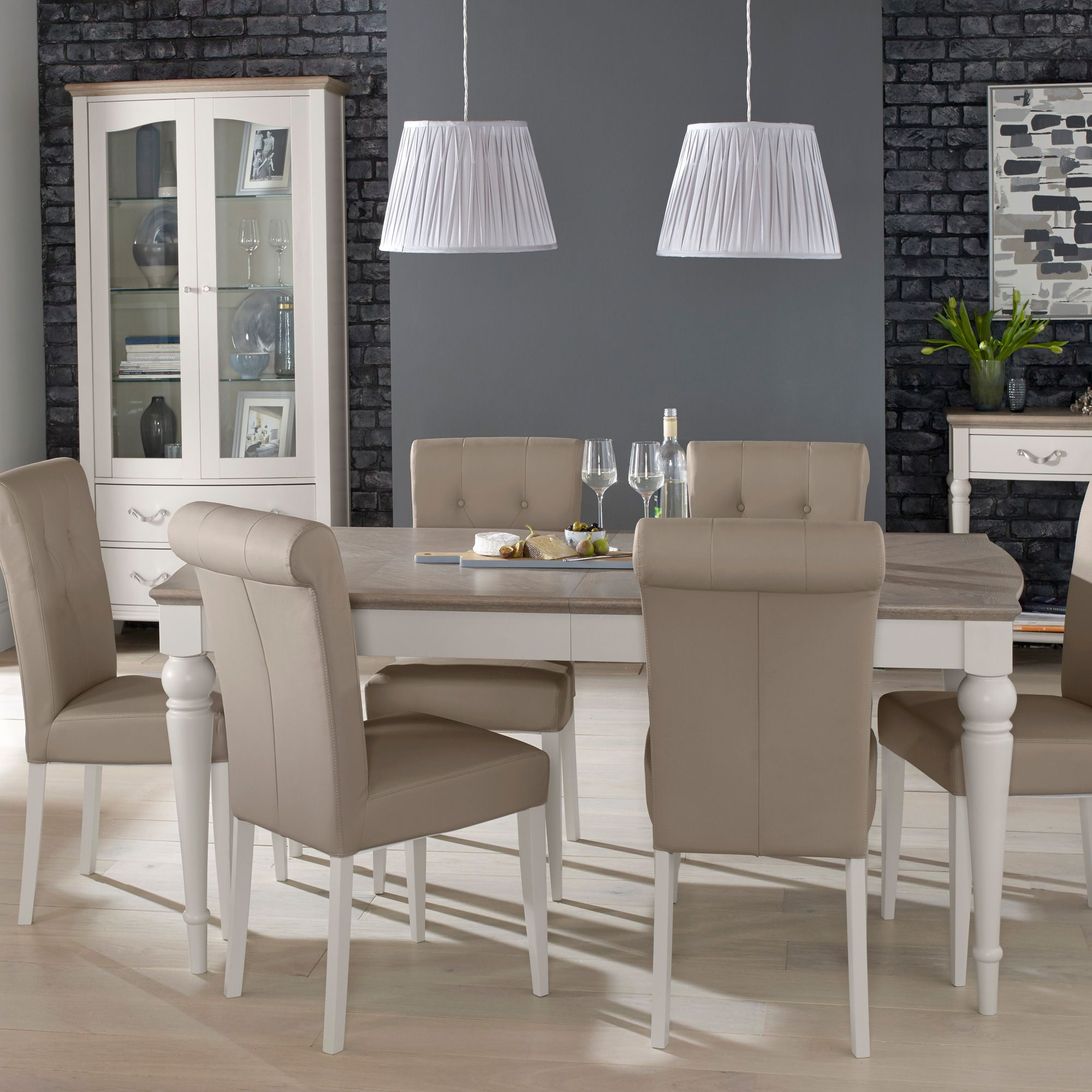 Freeport 6 8 Person Grey Washed Oak Extending Dining Table Upholstered Fabric Chairs