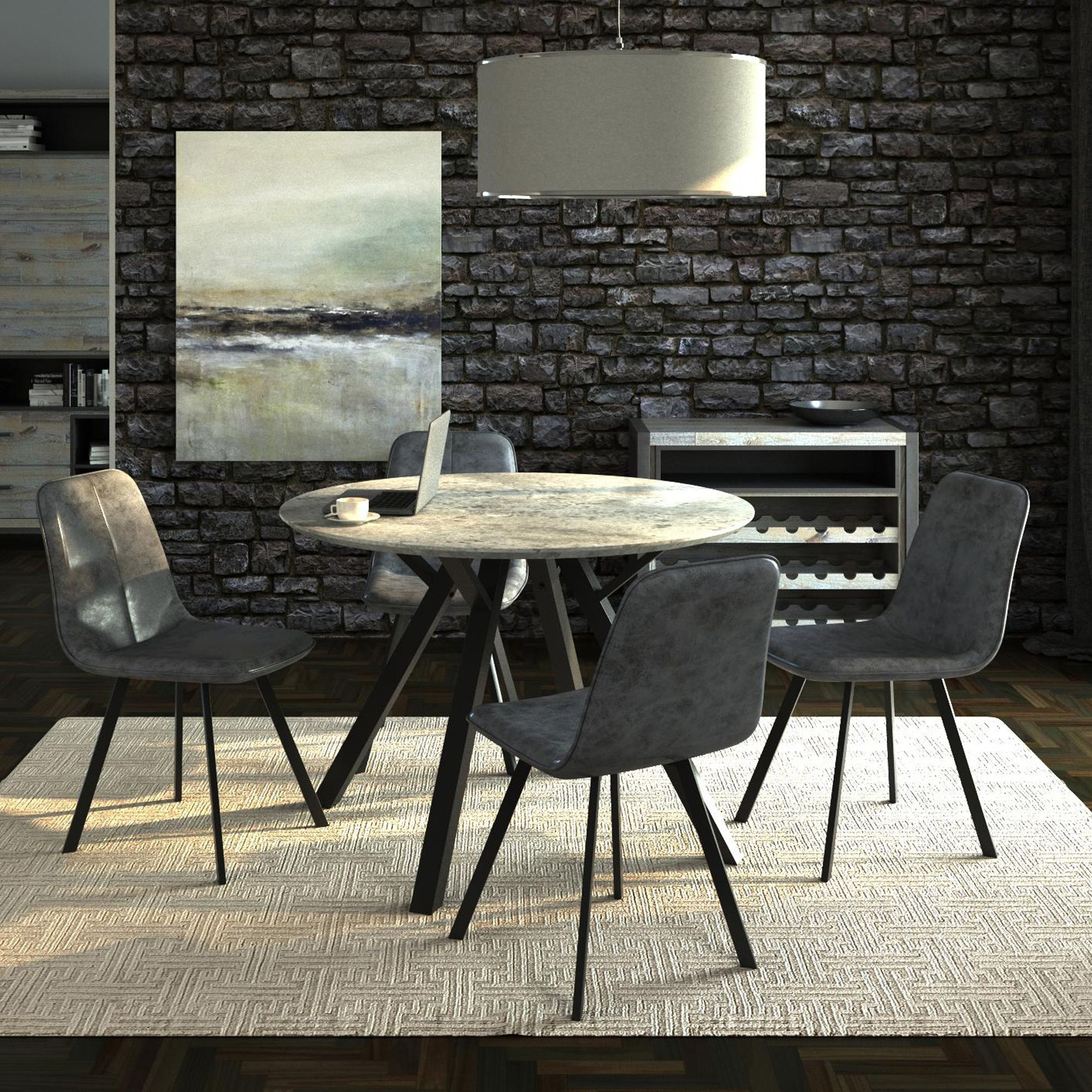 Boden 4 Person Round Dining Table 4 Boden Faux Leather Dining Chairs All Dining Collections Meubles