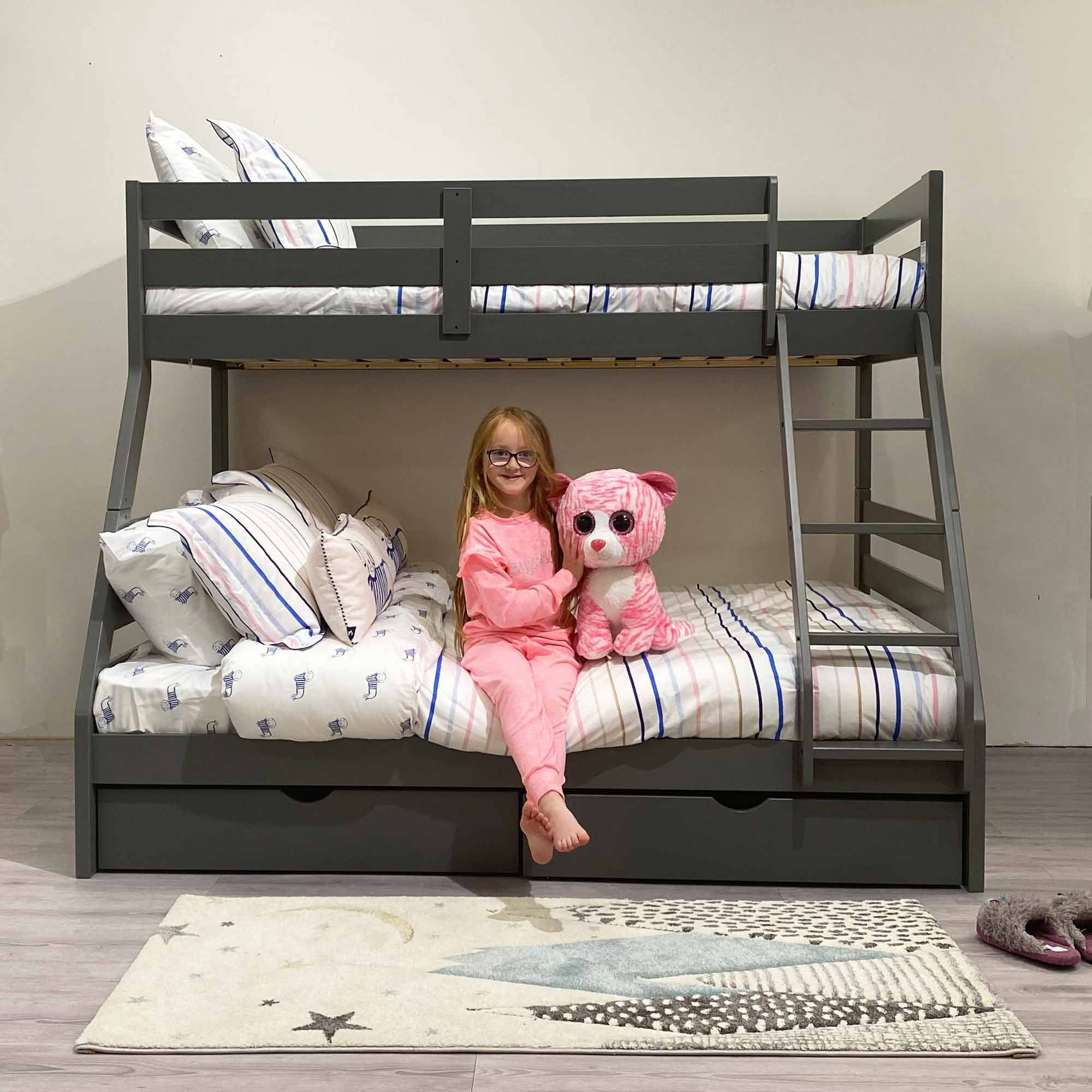 Picture of: Solar Painted Triple Dual Storage Bunk Bed Grey All Children S Collections Meubles
