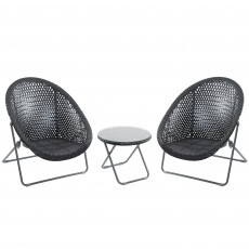 Toby Outdoor Rattan Foldable Table & Chair Set Black