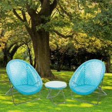 Toby Outdoor Rattan Foldable Table & Chair Set Aqua
