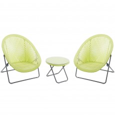 Toby Outdoor Rattan Foldable Table & Chair Set Lime
