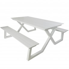 Stockholm 6 Person Picnic Table & Bench Set White