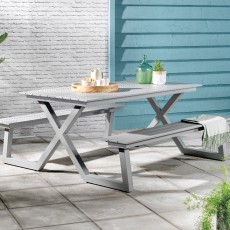 Stockholm 6 Person Picnic Table & Bench Set Grey