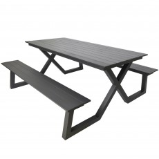 Stockholm 6 Person Picnic Table & Bench Set Charcoal