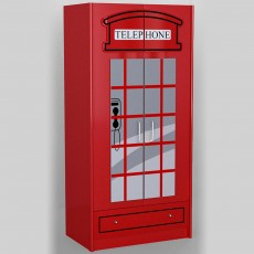 Vipack Telephone Box 2 Door Wardrobe Red
