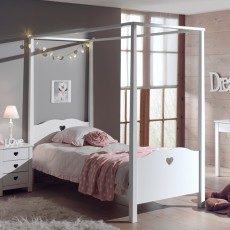Vipack Amori Single (90cm) 4 Poster Bedstead White