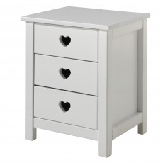 Vipack Amori 3 Drawer Bedside Locker White