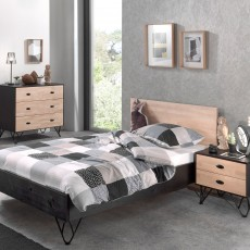 Vipack William 3 Drawer Chest Of Drawers Black & Birch