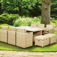 Royalcraft Seychelles Natural 10 Person Cube Dining Set With Footstools