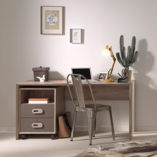 Vipack Emiel 2 Drawer Filing Cabinet Oak & Marakesch Brown