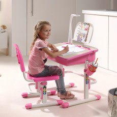 Vipack Comfortline Adjustable Study Desk With Light & Adjustable Chair Pink