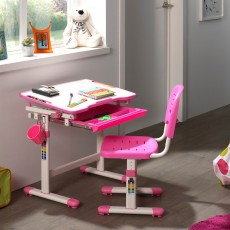 Vipack Comfortline Adjustable & Tiltable Study Desk Including Adjustable Chair Pink