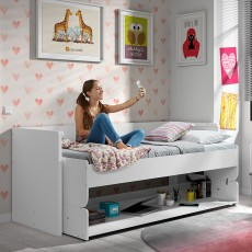 Vipack Denver Single (90cm) Bed + Study Desk Unit White