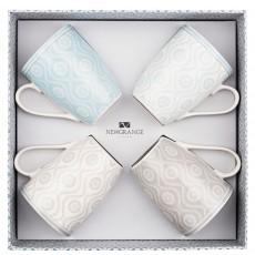 Newgrange Living Ella Bone China Mugs (Set of 4) Grey & Blue