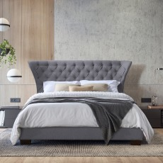Millie King (150cm) Bedstead Fabric Grey
