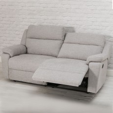 Houston Manual Reclining 3 Seater Sofa Fabric Beige
