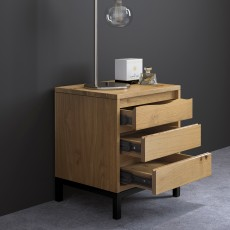 Billie 3 Drawer Bedside Locker Oak