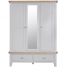 Tilly Triple Wardrobe With 2 Drawers Grey