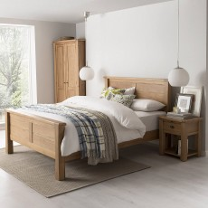Brid Double Bedstead (135cm) High End White Oak