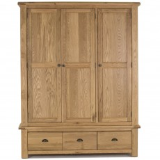 Brid Triple Wardrobe With 3 Drawers White Oak