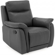 Leonardo Manual Reclining Armchiar Leather Grey