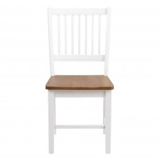 Brussels Slatted Back Dining Chair White & Oak