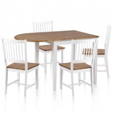 Brussels 2-4 Person Extending Dining Table & 4 Slatted Back Dining Chairs White & Oak