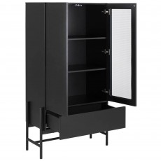 Stockholm Display Cabinet With Glass Black