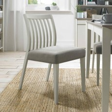 Canneto Grey Washed Oak Low Back Slatted Dining Chair Fabric Cold Steel