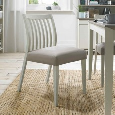 Canneto Grey Washed Oak Low Back Slatted Dining Chair Faux Leather Grey