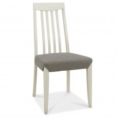 Canneto Grey Washed Oak Tall Back Slatted Dining Chair Fabric Cold Steel