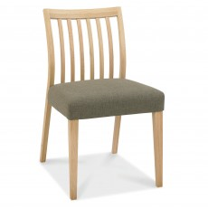 Canneto Oak Low Back Slatted Dining Chair Fabric Black Gold