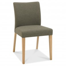 Canneto Oak Dining Chair Upholstered Fabric Black Gold
