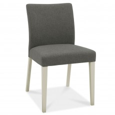 Canneto Grey Washed Oak Dining Chair Upholstered Fabric Cold Steel
