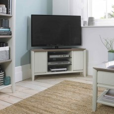 Canneto Corner TV/HIFI Unit Grey Washed Oak & Soft Grey