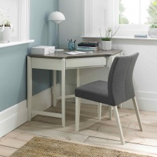 Canneto Grey Washed Oak & Soft Grey Corner Desk