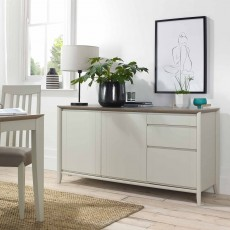 Canneto Grey Washed Oak & Soft Grey Wide Sideboard