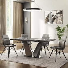 Alexa Dining Chair Faux Leather Antique Grey